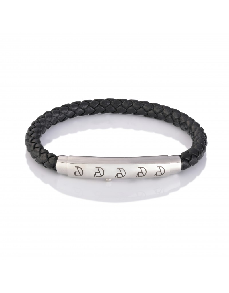 "Black "" Wolff "" Leather Bracelet"